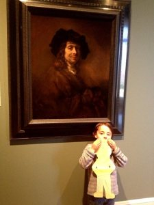 Rembrandt, Daniel and Flat Stanley at the St. Louis Art Museum