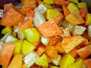 Roasted Root Veggies with Olive Oil, Red Pepper and Garlic