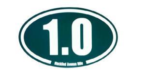 """You get a cool 1.0 mile sticker """"Macklind Mile"""""""